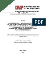 CARACTERÍSTICAS Y MEDIDAS DE AUTOCUIDADO DEL SÍNDROME DISMENORRÉICO EN ESTUDIANTES DE VI CICLO DE LAS ESCUELAS ACADÉMICOS PROFESIONALES DE OBSTETRICIA Y ADMINISTRACIÓN DE LA UNIVERSIDAD ALAS PERUANAS PERIODO 2014