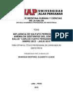 """INFLUENCIA DE SULFATO FERROSO EN LA ANEMIA DE GESTANTES DEL CENTRO DE SALUD """"CARLOS CUETO FERNANDINI"""" LIMA, ENERO 2012 – JULIO 2014"""