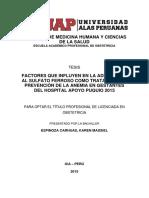 FACTORES QUE INFLUYEN EN LA ADHERENCIA AL SULFATO FERROSO COMO TRATAMIENTO Y PREVENCIÓN DE LA ANEMIA EN GESTANTES DEL HOSPITAL APOYO PUQUIO 2015