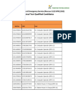 Physical Test Qualified Candidates
