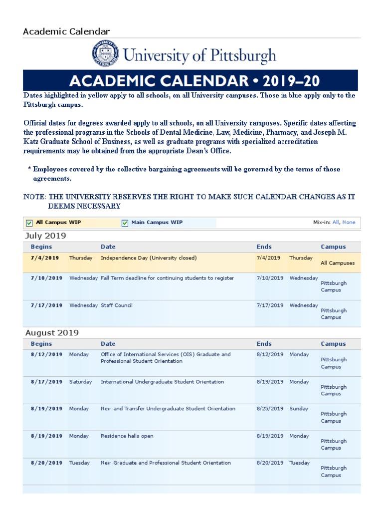 Pitt Academic Calendar 2022.Chapman Academic Calendar 2019
