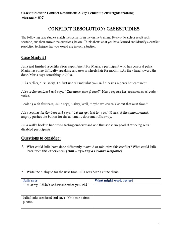 Conflict Resolution Training Casestudy  PDF  Conflict Resolution