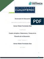 OSMAR RAFAEL FERNANDEZ DIAZ- Actividad-1.1 Cuadro Sinóptico Relaciones y Tareas de La Filosofía de La Educación