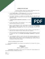 Affidavit of Loss - SEC