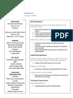 madison blades resume-dietetics