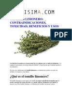TOMILLO LIMONERO CONTRAINDICACIONES, TOXICIDAD, BENEFICIOS Y USOS.pdf