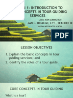 Lesson 1 Introduction to Core Concepts in Tour Guiding Services