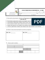 Ficha Avaliação Matemática 4.ºano (Dezembro)