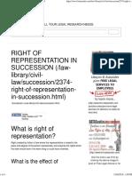 Right of Representation in Succession