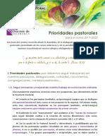 Prioridades Pastorales para El Curso 2019-20. Salamanca