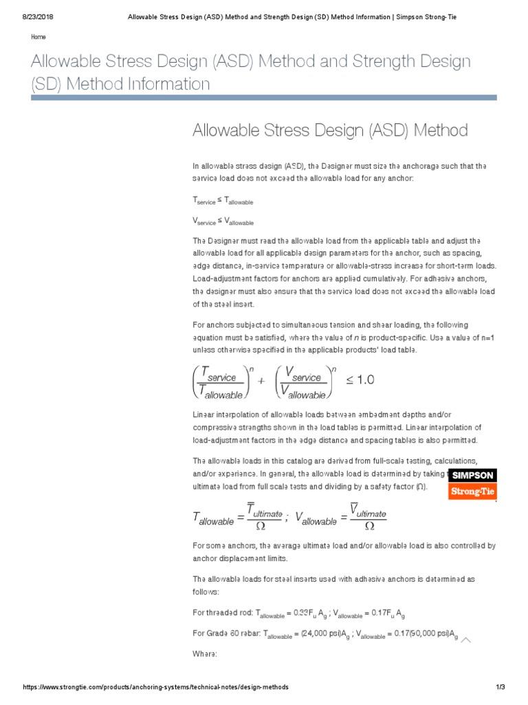 Allowable Stress Design Asd Method And Strength Design Sd Method Information Simpson Strong Tie Stress Mechanics Standard Deviation
