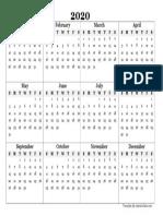 2020 Blank Yearly Calendar Template
