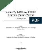 Lully Lulla Thou Little Tiny Child Three Versions