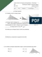 2 mini teste NEE semelança de triângulos e Pitágoras