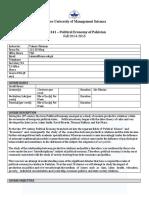 POL 341-Political Economy of Pakistan-Taimur Rehman