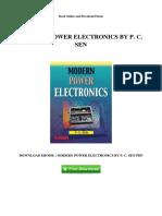 Modern Power Electronics by p c Sen