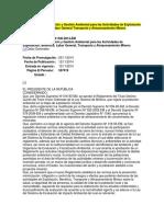 Reglamento de Protección y Gestión Ambiental Para Las Actividades de Explotación Beneficio Labor General Transporte y Almacenamiento Minero