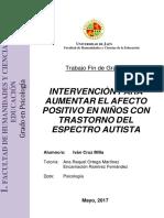 Intervención aumento afecto positivo autismo