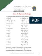 Lista sobre regras de derivação