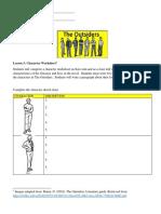 SEA Lesson 3 - Character Worksheet (Mini-unit)