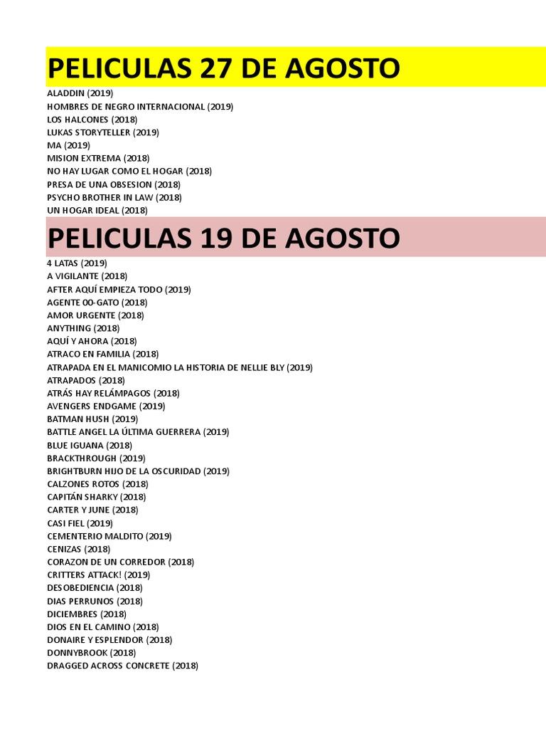 Obsesion Pelicula Porno peliculas 27 de agosto de 2019.xlsx | hombre murciélago