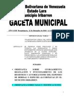 Ordenanza de Tasas y Certificaciones Municipio Iribarren