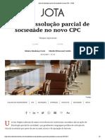 Ação de dissolução parcial de sociedade no novo CPC – JOTA