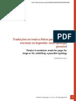 Traduções no teatro, feitas para publicar, encenar ou legendar