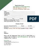 Registration Form ICRE Jaipur