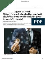 Blockchain Goes to Work - Forbes India Magazine