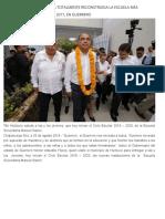 26-08-2019 Héctor Astudillo entrega totalmente reconstruida la escuela más afectada por el sismo del 2017, en Guerrero.