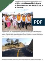 31-08-2019 Astudillo Flores visitó los municipios de Metlatónoc y Cochoapa; entregó diversos apoyos a la población de la Región Montaña de Guerrero.