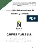 EVPRO-01 Evaluacion de Proveedores de Insumos y Servicios