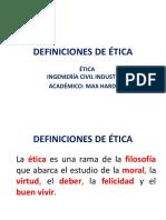 1.- Definiciones de Ética