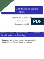 SP 07 Sampling Distribution of Sample Means