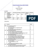 Sample Paper-II Class Xi (Computer Science) Half Yearly