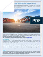 Things to Consider Before Choosing Logistics Services