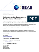 Eeas - European External Action Service - Statement by the Spokesperson on the Latest Developments in Suriname - 2019-12-12