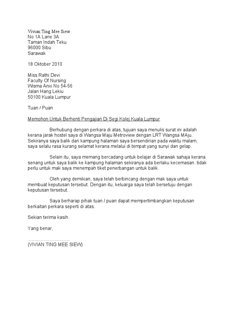Surat Rasmi Berhenti Pengajian Hallowew
