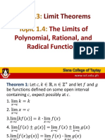 Topic 1.3-1.4 Limit Theorems and Limits of Algebraic Functions