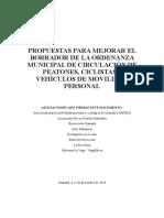 Propuestas para la mejora del borrador de la Ordenanza Municipal de Circulación de Peatones, Ciclistas y VMP de Granada