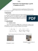 Synthèse Et Optimisation de Bioplastique à partir d'amidon Et de PLA