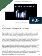 On Rural America - Understanding Isn't The Problem
