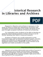 Doing Historical Research in Libraries and Archives