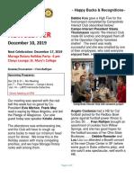 Moraga Rotary Newsletter Dec 10, 2019