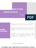 THE ROLE OF MEMORY IN SECOND LANGUAGE ACQUISITION (final project)