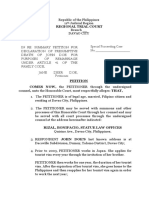 petition for judicial presumption of death - john doe