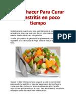 Los Secretos Para Curar La Gastritis Rápido