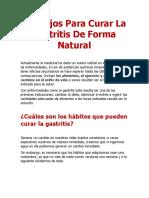 Consejos Para Curar La Gastritis de Forma Natural
