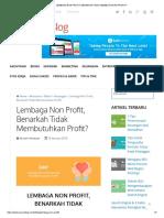 Lembaga Non Profit, Benarkah Tidak Membutuhkan Profit